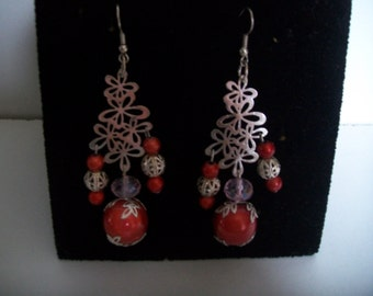 magical red dangle earrings