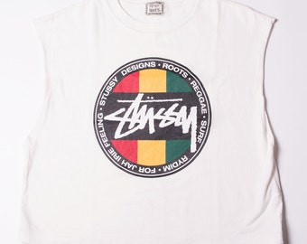 Vintage Stussy 90s Cut Off Rasta Muscle Tshirt