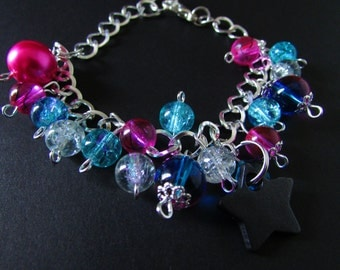 Shiny Blue Purple Pink Black Star Charm Bracelet