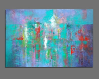 Abstract painting Blue, green, purple, white, red Original painting Modern Large size 31.9x47.2 inches / 80x120 cm
