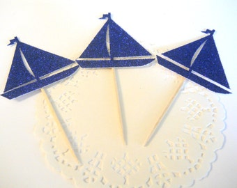 12 Sailboat Cupcake Toppers Nautical Baby Shower Decor Sailboat Party Decor Nautical First Birthday Decor Sailboat Party Nautical Shower
