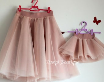 Mother Daughter Matching Dusty Pink Tulle Skirts,Mommy and me clothing,Mom and daughter matching outfits,Mommy and me skirt,Matching family