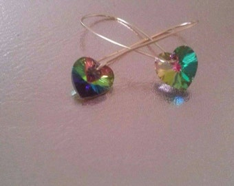 Gold plated earrings with Swarovski hearts