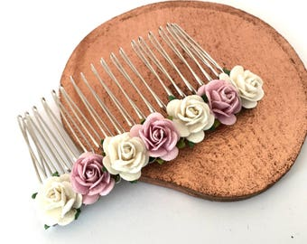 Blush Rose Pink Hair Comb, Ivory and Pink Bridal Hair Comb, Wedding Hair Comb, Bridal Hair Accessories, Bridesmaid Hair Comb,