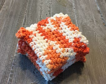 Orange and white crochet wash cloth set of two