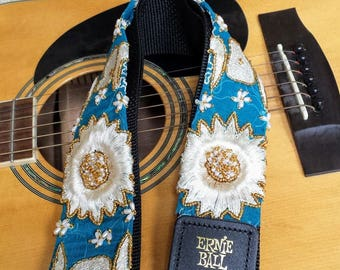Blue Silk Daisy Beaded Guitar Strap; Statement Guitar Strap; Unique Guitar Straps; Handmade Straps; Hippie Style Beaded Guitar Straps
