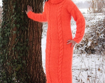 New Hand Knitted Mohair Sexy Long Sweater,Neon Orange,Handmade Dress