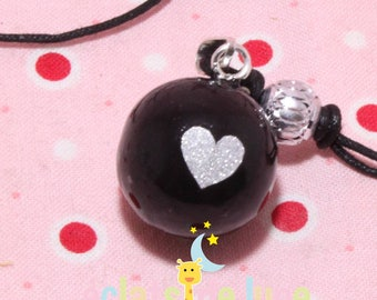 Pregnancy Bola silver heart pattern black sequin