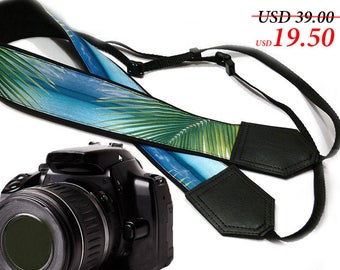 Camera Strap with beach. Ocean Camera Strap. Palms camera strap. Camera accessories by InTePro
