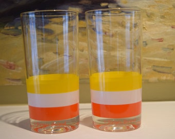Georges Briard Striped Orange White Yellow Highball Water Tumblers Glasses Set of 2