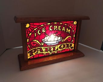 Light Up Reproduction Vintage Style  Ice Cream Parlor Sign with Hand Crafted Wood Box- night light  style bulb included