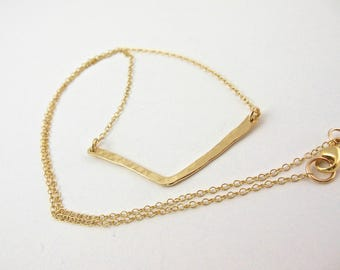Gold Necklace, Gold Bar Necklace, Hammered Bar Necklace, Layering Necklace, Everyday Necklace, Bridesmaid Necklace, Simple Necklace