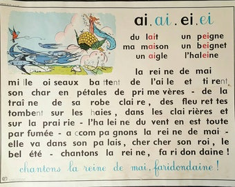 French school poster - vintage French poster - vintage poster - French poster - vocabulary poster - French pronunciation - French gift