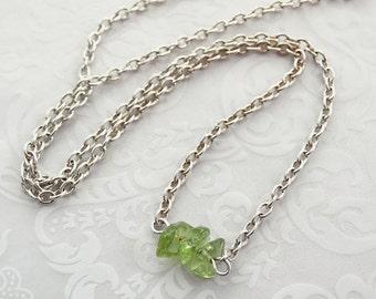 Peridot Necklace, Layering Jewelry, Peridot Jewelry, Minimalist Jewelry, Green Jewelry, Gemstone Necklace, Gift For Women, Birthday Gift