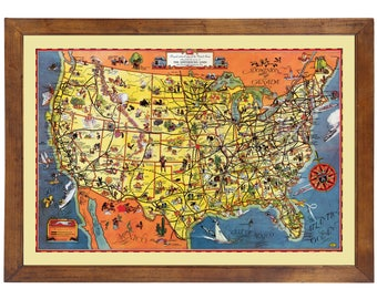 """Greyhound Lines """"Good Natured"""" Pictorial Route Map 1937; 24x36 Print from a Vintage Lithograph"""