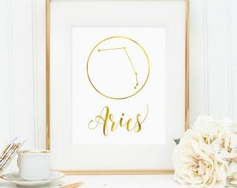 Aries print, Aries constellation, Gift for Aries, Aries Zodiac, Aries faux gold foil printable art, faux gold foil wall art (digital JPG)