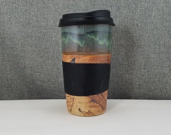 IN STOCK**Ceramic Travel mug / Commuter mug with silicone lid - Leafs / Olive Blue