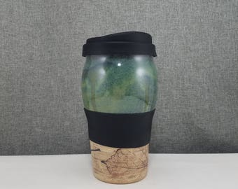 Made to Order(Up to 3 weeks)***  Ceramic Travel Tumbler/ Commuter mug with silicone lid/Sleeve - Olive Blue - Leafs