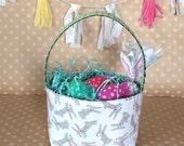 Bunny Easter basket. Easter basket for Boy. Easter Egg Hunt. Gift Under 25. Holiday Decor. Bunnies.
