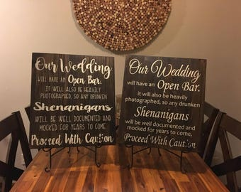 Open Bar Wedding Sign • Wedding Bar Decor • Rustic Wedding Decor • Wooden Wedding Sign