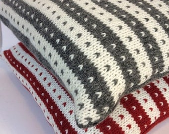 Nordic style knitted cushion