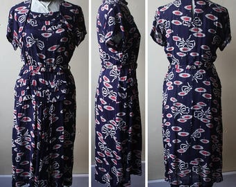 Vintage 40s Blue & Red Floral Print Rayon Swing Era Dress S