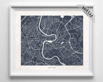 Bern Map, Switzerland Print, Switzerland Poster, Street Map, Map Art, Kids Wall Art, Art Print Shop, Art Prints, Dorm Decor
