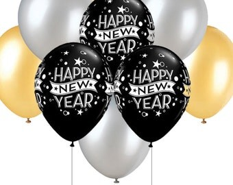 New Year Balloons, Black, Gold and Silver Balloons 11 Inch with Fast Shipping, Silver Colored Bulk Balloons, Gold Colored Balloons,