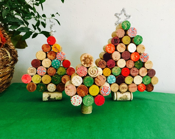 Wine Cork Christmas Tree, Set of 3 Christmas Tree decorations, Cork Christmas Tree Decoration, Wine Lover Holiday Decor,  Wine Cork Tree