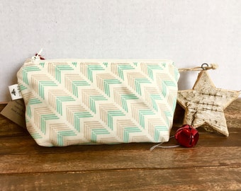 "Organic Cotton ""Arrows"" cosmetic pouch - cosmetic bag, travel pouch - ready to ship"