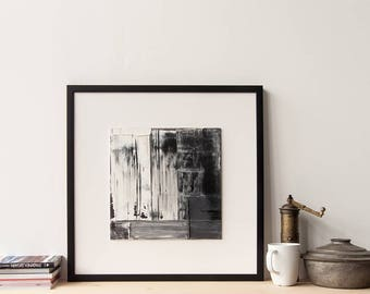 """Original Painting, Wall Art Abstract Painting Oil on Canvas Panel Modern Fine Art, Home Decor, Contemporary Black and White Artwork 12""""x 12"""""""