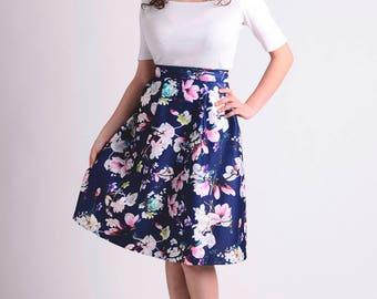 flower skirt / midi skirt / pleated skirt / green skirt / hippie skirt / traditional skirt