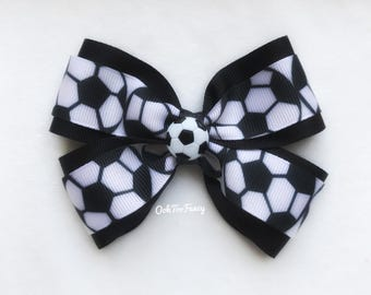 Soccer Hair Bow, Soccer Hairbows, Yellow Soccer Hair Bow, Girl Soccer Hair Bow