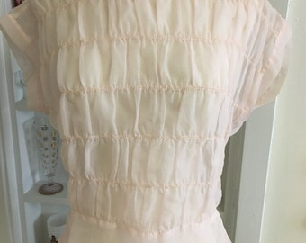 1950s Vintage Sheer Blush Pink Nylon Blouse w/Back Buttons