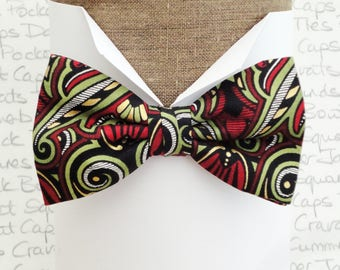 Bow ties for men, Paisley bow tie, Pre tied or self tie, sage, red and gold print on black