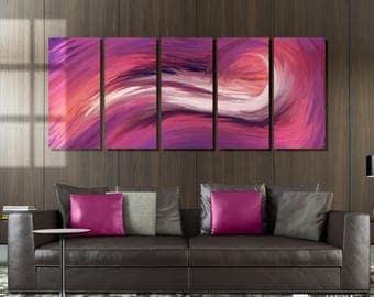 Purple Wavy Abstract Metal Wall Art Decor
