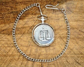 Libra Scales Pocket Watch Pewter Fronted Free Engraved Gift Boxed Astrology