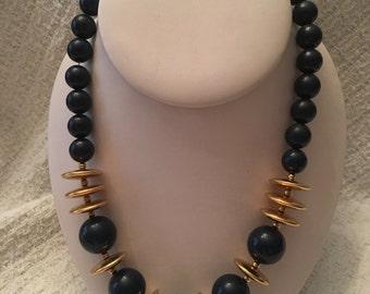Monet Navy Beaded Gold Tone Beads and Discs  Necklace, Monet Gold Tone and Navy Necklace, Monet Princess Necklace,  Monet Chunky Necklace