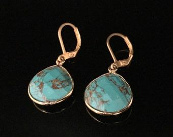Copper Turquoise Earrings Bezel Set in 18k Gold Vermeil // Teardrop Shape // Lever Ear Wires