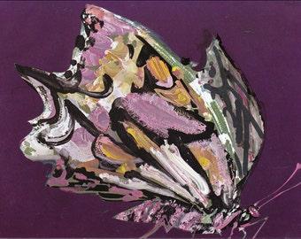 b for butterfly purple 60's mid century children's illustration retro nursery decor Brian Wildsmith 7.25x9.75 inches