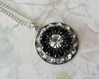 Clear Crystal Necklace Swarovski Crystal Necklace Art Deco Necklace Black Clear Crystal Rhinestone Necklace Silver Drop Necklace