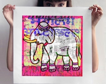 Pink elephant distressed exotic art print, vintage looking instant download, printable ethnic India home decor, hindu wall art, shabby boho