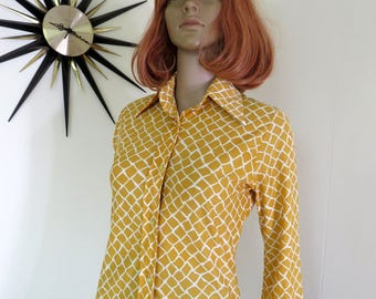 Vintage 70s groovy women's long sleeved buttoned shirt - orange brown & white beauty from 'Paramount Bardland' Australia