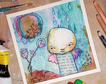 Dream of Flying, greeting card, mixed media art painting
