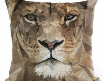 Lioness Pride - Geometric Animal Pillow Cover