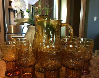 Vintage Amber Glass Pitcher with 10 glasses