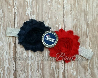 New England Patriots shimmery elastic headband infant, toddler, or adult sizes