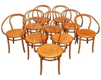 Set of Ten Thonet Bentwood 209 Chairs