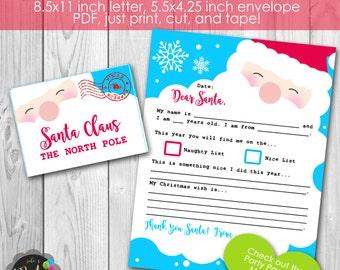 Instant Download Letter and Envelope to Santa Set