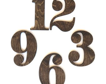 Wood Clock Numbers, Laser Cut Wooden Numbers